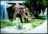 Készül az Angyal c. szobor (DÉNES Gábor és AKNAY János), Castrum, Szentendre, 1995,